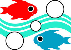 Swimming fishes. Isolated line art work Royalty Free Stock Photography