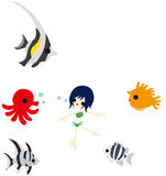 Swimming with fishes Stock Photos