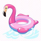 Swimming flamingo. Swim summer water pool inflatable toy pink flamingo float beach sea rings with marine waves concept royalty free illustration