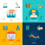 Swimming Flat Set Royalty Free Stock Photography