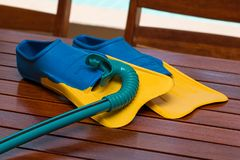 Swimming, Flippers, Snorkel, Summer Royalty Free Stock Images