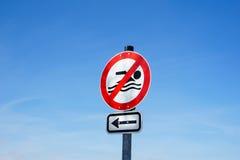 Swimming forbidden sign 9 Stock Photos