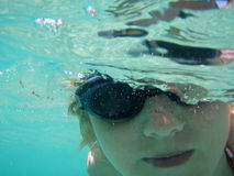 Swimming girl. Swimming child, girl 10 y.o. under water stock image