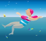 Swimming girl. Royalty Free Stock Photo