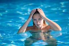Swimming girl royalty free stock image