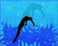 Swimming girl. Under the water royalty free illustration
