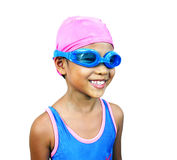 Swimming girl. Girl getting ready ofr a fun swim Royalty Free Stock Photography