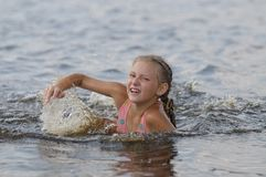 The swimming girl Stock Photography
