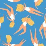 Swimming girl pattern. Cute woman swimmer seamless pattern, blue ocean underwater summertime vector illustration stock illustration