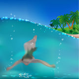 Swimming girl under the water. stock illustration