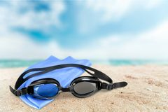 Swimming Goggles. Cap Swimming Isolated Equipment Personal Accessory Sport royalty free stock photo