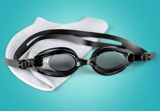 Swimming. Goggles Cap Isolated Equipment Personal Accessory Sport royalty free stock photo