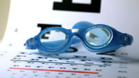 Swimming goggles falling onto eye test stock video footage