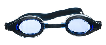 Swimming goggles isolated on white background. Blue-tinted swimming goggles isolated on white stock images