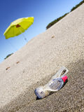 Swimming goggles on a sunny beach. Swimming goggles , blue sky, a sunny beach Royalty Free Stock Photos