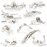 Swimming. Hand drawn collection. Original sketches. Royalty Free Stock Photos