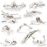 swimming Hand getrokken inzameling Originele schetsen Royalty-vrije Stock Foto's