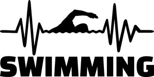 Swimming heartbeat line german. Heartbeat pulse line with swimmer using front crawl swimming technique and word Stock Photos