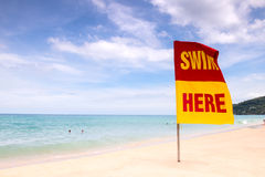 Swimming here sign on the beach Royalty Free Stock Images