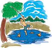 Swimming Hole. Young boy swinging from rope in river stock illustration