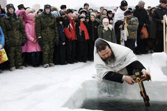 Swimming in the ice-hole on Epiphany Stock Photo