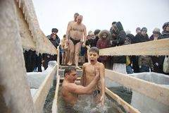 Swimming in the ice in winter Stock Photos