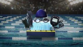 Swimming icon, swimming race track, cap, stopwatch. Swimming icon, swimming race track, cap, stopwatch stock illustration