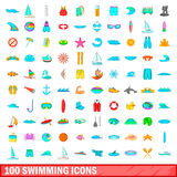 100 swimming icons set, cartoon style. 100 swimming icons set in cartoon style for any design illustration Vector Illustration