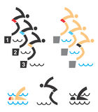 Swimming icons Royalty Free Stock Photography