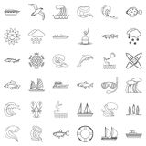 Swimming icons set, outline style Royalty Free Stock Photos