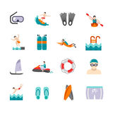 Swimming Icons Set Stock Photography