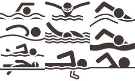 Swimming icons Royalty Free Stock Photo