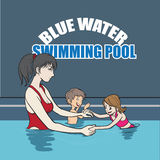 Swimming instructor royalty free illustration
