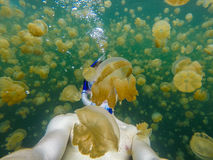 Swimming in Jelly Fish Lake. Self portrait while swimming through Jellyfish Lake in Palau Stock Photo