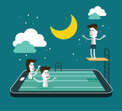 Swimming and Jumping in smart device pool. Royalty Free Stock Images