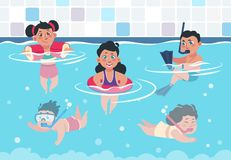 Free Swimming Kids. Cartoon Happy Children In A Pool, Flat Boys And Girls Swimming And Playing In Swimwear. Vector Summer Stock Photography - 153824072