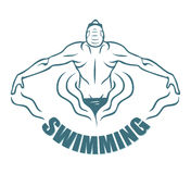 Swimming label. Vector illustration of a swimmer Vector Illustration