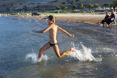 Swimming in lake Kinneret Stock Images