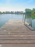 Dock by a lake in Austria. Wood dock in a sunny lake in Austria surrounded by vegetation Stock Images