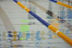 Swimming lanes. Swimming lane markers in Olympic size pool Stock Images