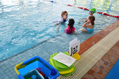 Swimming lesson stock photography