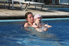 Swimming lessons in the pool Stock Photo