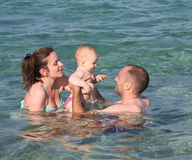 Swimming lessons in the sea Royalty Free Stock Photography
