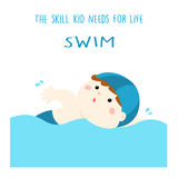 Swimming is life skill for kid   illustration Royalty Free Stock Images