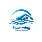Swimming logo. Swimming Logo. Swimmer icon with caption. Swimming or Swimmer Logo. Vector illustration Royalty Free Stock Photo