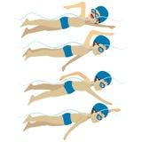 Swimming Man Free Stroke Style Stock Image