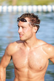 Swimming man portrait - handsome male swimmer Stock Photo