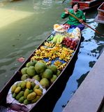 Swimming Market. Women sells Food at the Swimming Market in thailand Royalty Free Stock Images