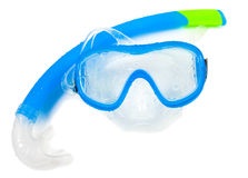 Swimming mask and snorkel on a white background. Blue swimming mask and snorkel on a white background stock photography