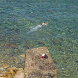 Swimming in the Mediterranean Sea Royalty Free Stock Image